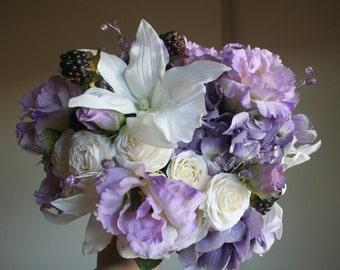 Lavender Bouquet & Boutonniere Set - Lisianthus, Miniature Roses, Orchids, Hydrangea, Crystals, Lace - Rustic Garden Wedding, Romantic Fairy