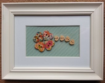 Pretty vintage style home-made framed picture - flower design with heart shaped buttons