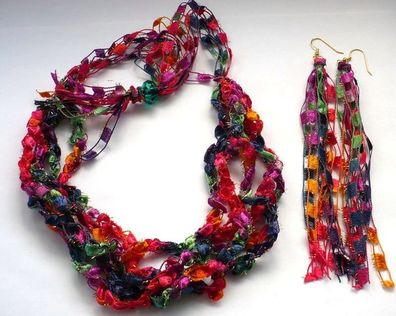 Ladder Yarn Necklace Set - Fiber Necklace and Fringe Earrings, Ribbon Necklace Set, Crocheted Yarn Necklace, Gifts for Her, Ready to Ship