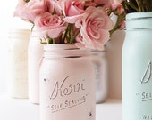 Rustic Home Decor Mason Jar Single Jar Pint Pink (1)