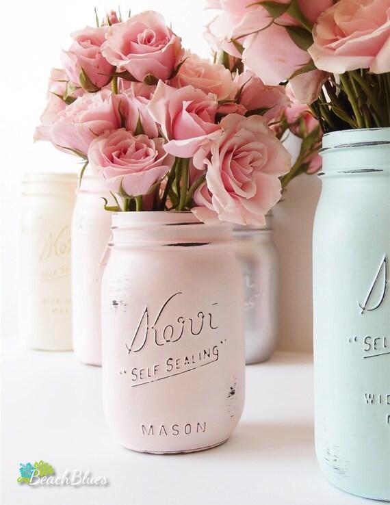 Rustic Home Decor Mason Jar Single Jar Pint Pink (1)