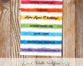 Watercolor Paint Birthday Party invitation - Art Birthday Party - Painting party - choose your wording - no color changes