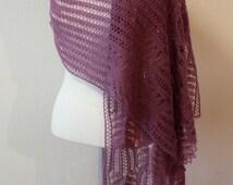 Purple lace shawl, very soft and warm shawl
