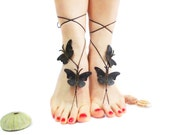 12 Color options, Black Leather Butterfly Barefoot sandal, Jewellery Anklet, Steampunk, Bridal, Oriental Boho Chabby Chic