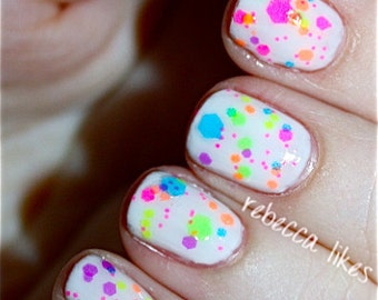 Clowning Around:  Custom-Blended NEON Glitter Nail Polish / Indie Lacquer