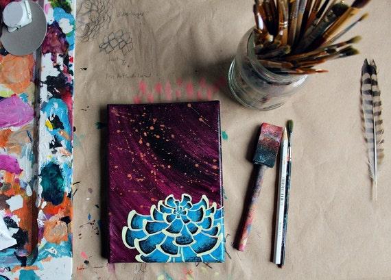 Succulent No. 2 - Original acrylic painting blue succulent painting purple background