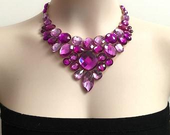 amethyst purple and light purple rhinestone bib necklace