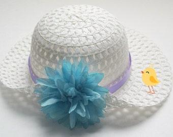 EASTER HAT, Flower Girl Hat, Aqua  Hat, Flower Hat, Child Hat, Tea Party Hat, Sun Hat, Lavender Spring Hat, Toddler Spring Hat