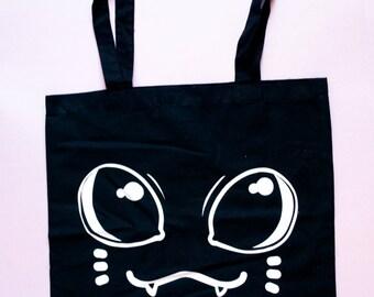 cute cat print - black manga cat face tote bag - large cat eyes kawaii shopping tote anime style - pastel goth creepy halloween