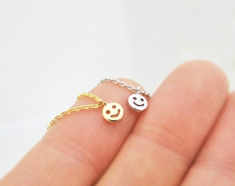 Tiny Smiley Face Necklace, Holiday Gift, Give me your smile!
