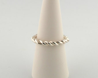 Sterling Silver Rope Ring- Stackable