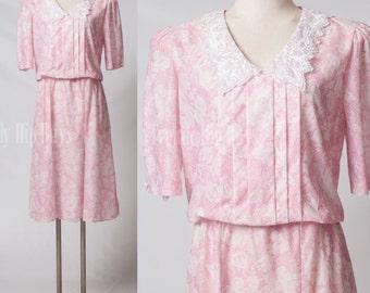 VIntage 80s Dress, Vintage Pink dress, Floral dress, Secretary dress - L/XL