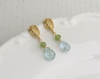 Aquamarine earrings, Peridot earrings, Gold filigree earrings