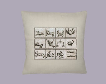 Ancient Astrological Signs Symbols HANDMADE 16x16 Pillow Cover - Choice of Fabric - any Image Color
