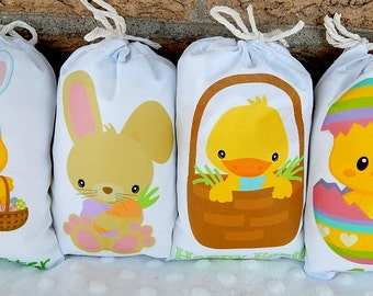 "Easter Favor Bags Happy Chicks and Bunnies for gifts or treats can be Personalized  5"" X 7"" or  6"" X 8""  Qty 8"