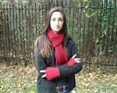 Red Rainbow Sparkle Scarf and Fingerless Gloves Set