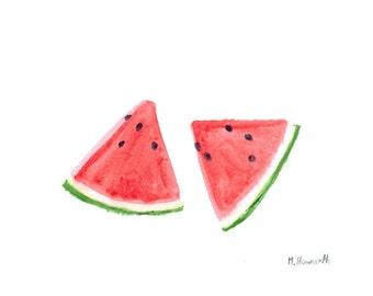 Watermelon watercolour painting, original watercolor painting kitchen art fruit painting 7 x 5 inch