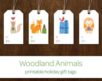 Printable Holiday Gift Tags - Instant Download Christmas Gift Tags - Woodland Animals Holiday Gift Labels - Fox Bird Owl Squirrel