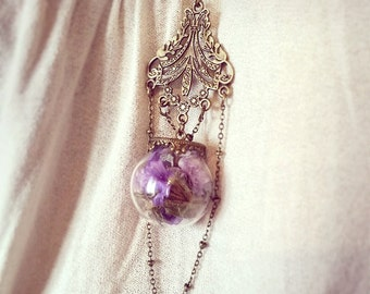 Terrarium Bottle Necklace. Cute Necklace, miniature bottle charm necklace, gifts for woman, bottle pendant, flower bottle, lavender necklace
