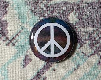 Galaxy Peace Sign Button or Magnet