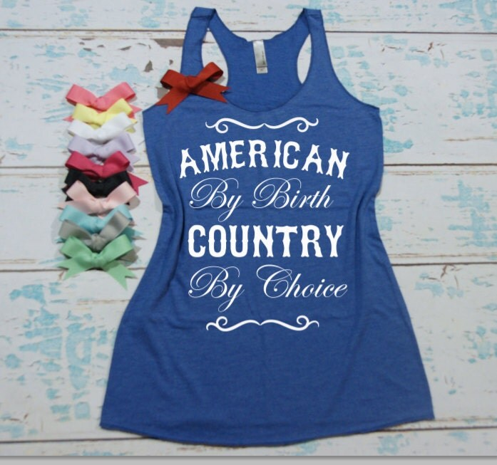 American By Birth Country By Choice Eco Razor Back Tank Top