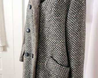 Gray Tweed Vintage Timme Tuft Swing Coat Women S M