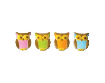 12 Owl Assortment Edible Sugar Topper Decorations for Cakes, Cupcakes, Cookies