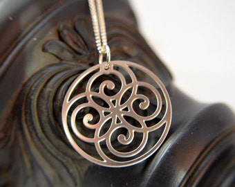 Spiral Circle Pendant in stainless steel, silver spiral necklace, celtic pendant, irish jewelry, silver necklace