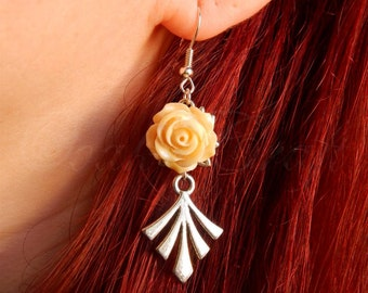 "OOAK Art deco style ""Bloom"" silvered earrings with creamy roses"