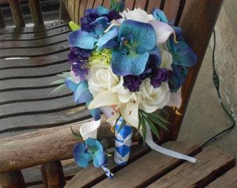 Tropical Destination Beach Bouquet Real Touch Bridal Bouquet / Purple and Royal Blue Bouquet / Silk Wedding Flowers / Tropical Flowers