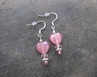 Heart Earrings, Crystal Earrings, Beaded Dangle Earrings, Pink Hearts, Valentine's Day Earrings