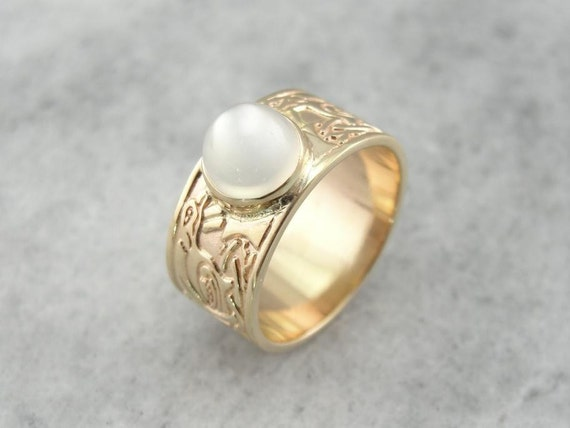 Glowing Moonstone And Celtic Knotwork Band Or Sweetheart Ring