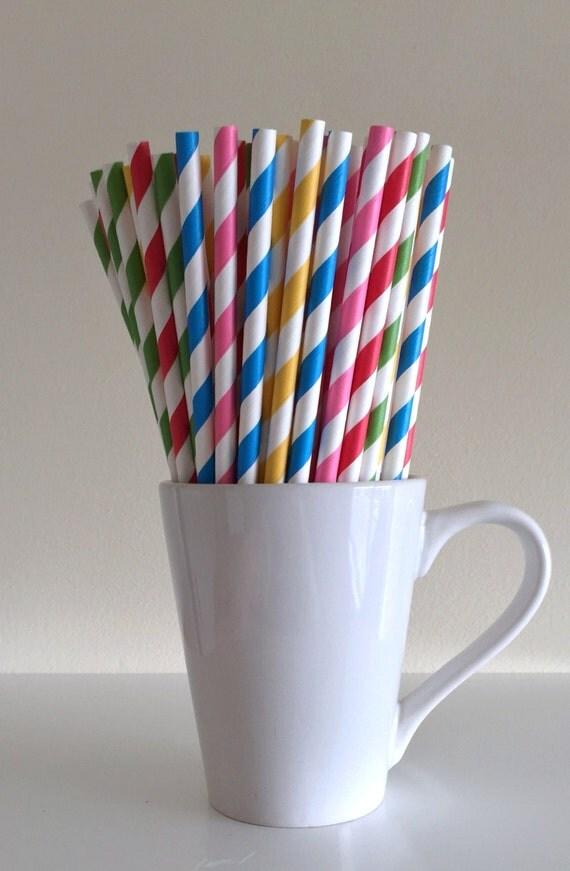 Pink red yellow green blue paper straws yo gabba for Decor yo pops