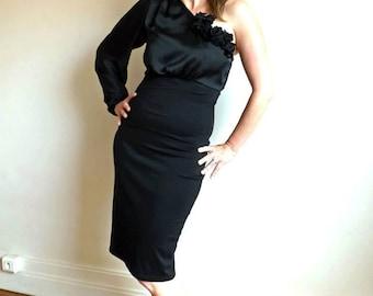 Black one shoulder dress, women clothing, little black dress, black dress, pencil dress, one shoulder prom dress, puff sleeve dress