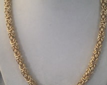 Gold Byzantine Chain Maille Necklace Tarnish Resistant Chain Mail Free Shipping