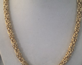 Gold Byzantine Chain Maille Necklace Tarnish Resistant Chain Mail  Handcrafted by Me