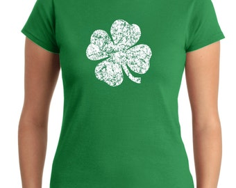 Women's St Patrick's day Shirt,  four leaf clover t-shirt, green shirt,  lucky shirt,Lady's Shirt, Screen Printed