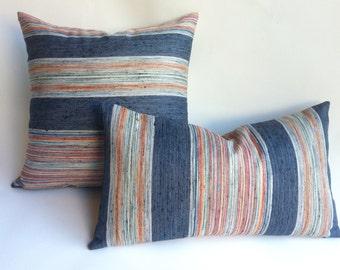 One Indigo Stripe Designer Zipper Pillow Cover 18x18 24x24 26x26 lumbar Pillow cover Red Coral Orange Blue Green-L216