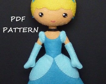 PDF sewing pattern to make felt doll inspired in Cinderella.