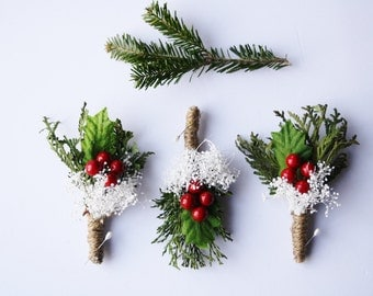 Rustic Boutonniere Winter boutonniere Woodland wedding boutonniere Groomsmen buttonhole dried natural flower butineer christmas wedding RED