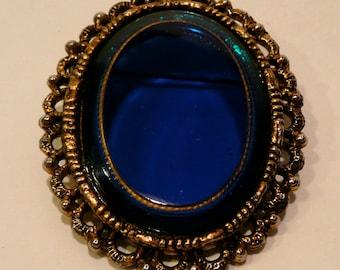 Vintage Oval Blue Glass Brooch