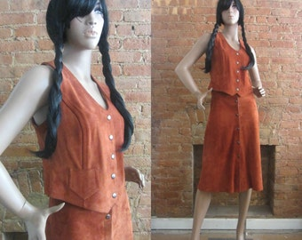 1970s rust brown suede vest & skirt set | 70's Boho Hippie | S | Lurlene
