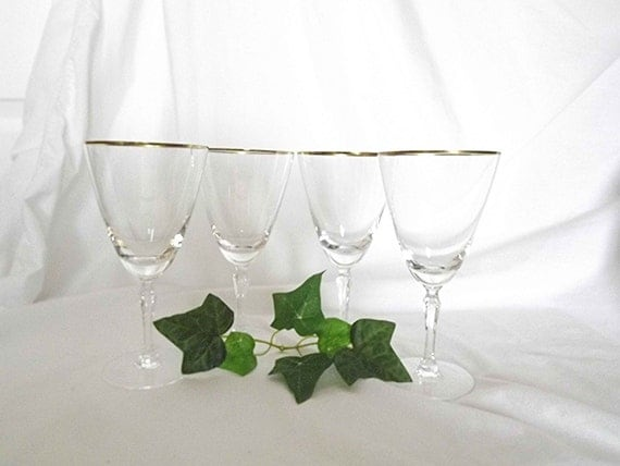 Vintage glassware lenox glassware wine glasses by nanisgarden - Lenox gold rimmed wine glasses ...