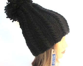 Large pom pom hat - black hat for women - handknit hat - chunky knit hat - fashion accessory - warm winter hat - wool knit hat with pompom