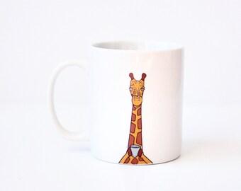 Giraffe mug - giraffe coffee cup christmas holiday stocking stuffer gift xmas giraffe coffee mug animal lover jungle orange giraffe