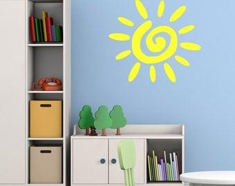 Kids Sun Wall Sticker, Sun Wall Decal, Sun Wall Art, Sun Wall Transfer, Childrens Wall Stickers, Nursery Wall Decals - PI031