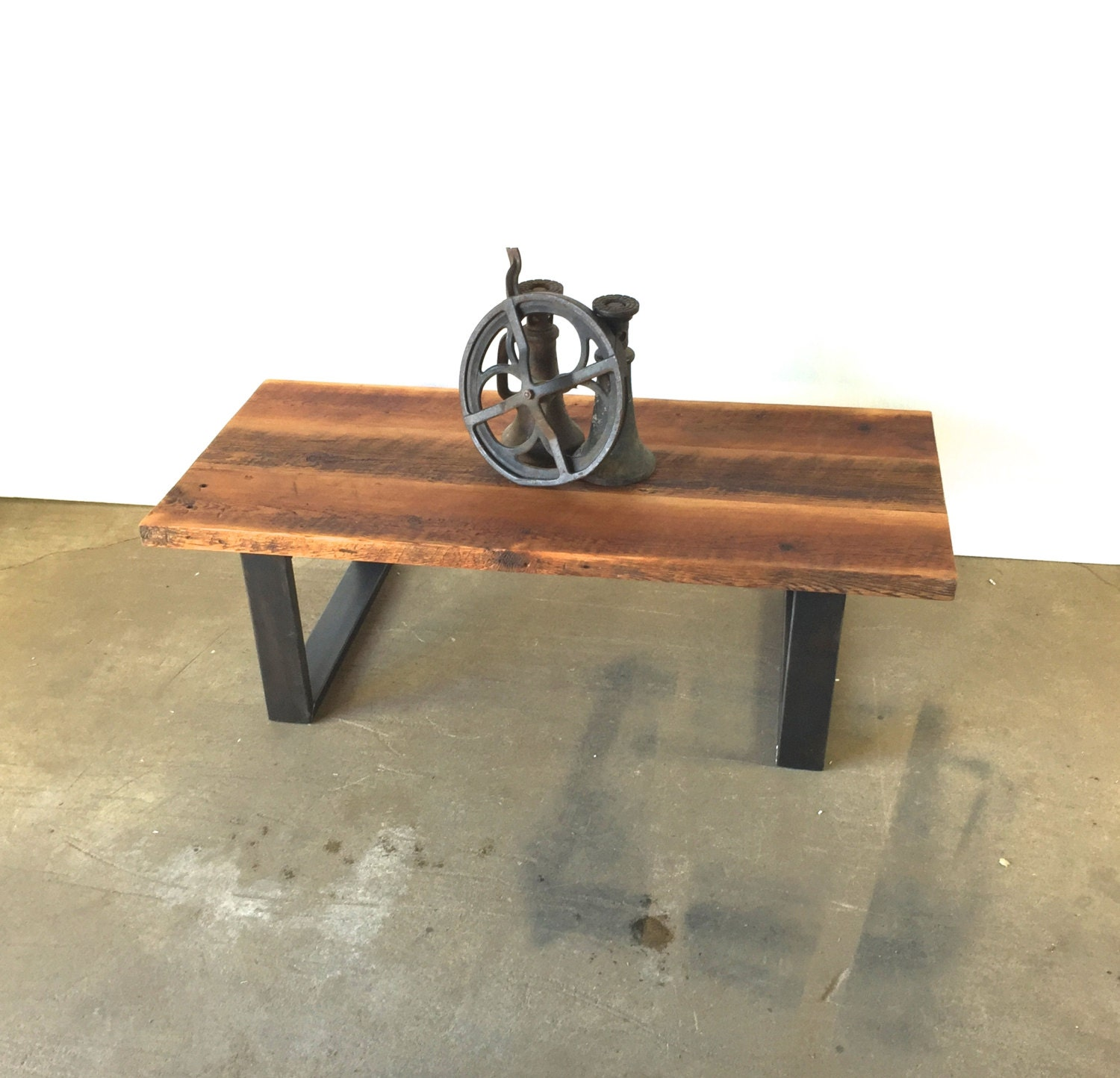 Amazing photo of Reclaimed Wood Coffee Table / Industrial Steel U Shaped by wwmake with #905D3B color and 1500x1444 pixels