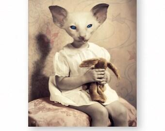 "Cat Art Print Oriental Cat Kitten Animals In Clothes Mixed Media Collage Nursery Decor Anthropomorphic Cat Lover, (3 Sizes) ""Sugarplum"""