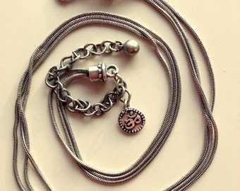Vintage Sterling Silver Triple Layer Oxidized Snake Style Necklace with OM/AUM