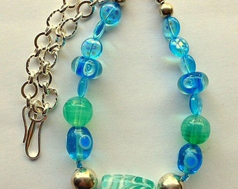 Chunky Turquoise and Blue Lampwork Glass Beads and Sterling Silver Chain Necklace